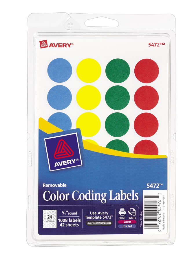 Round labels avery removable color coding labels pronofoot35fo Gallery