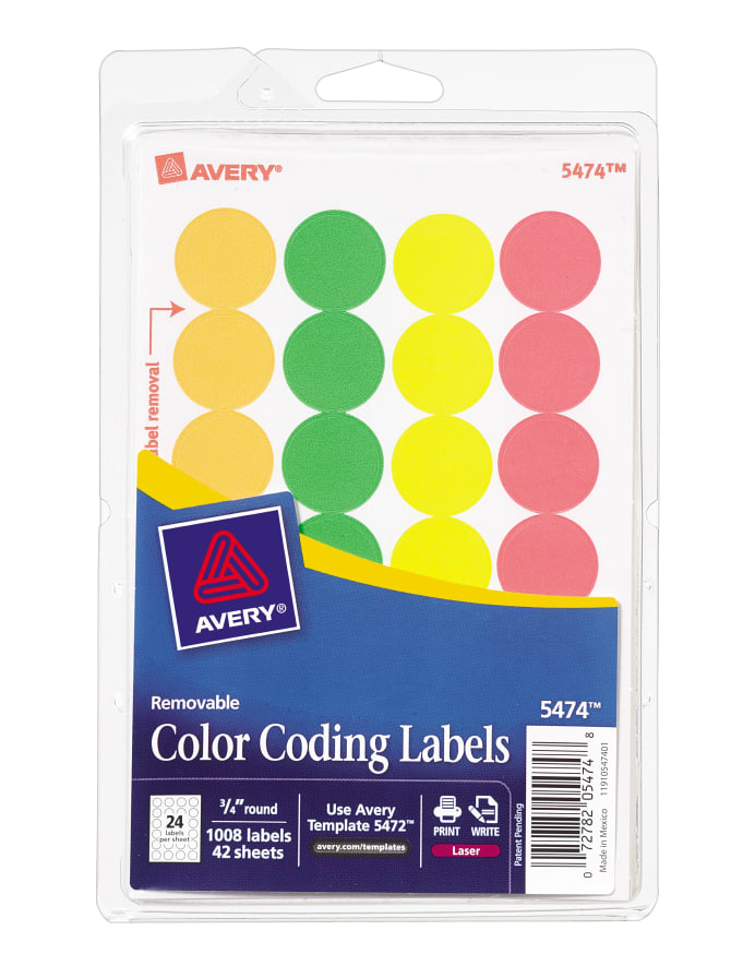 Avery Removable Color Coding Labels Assorted Neon Colors008 5474