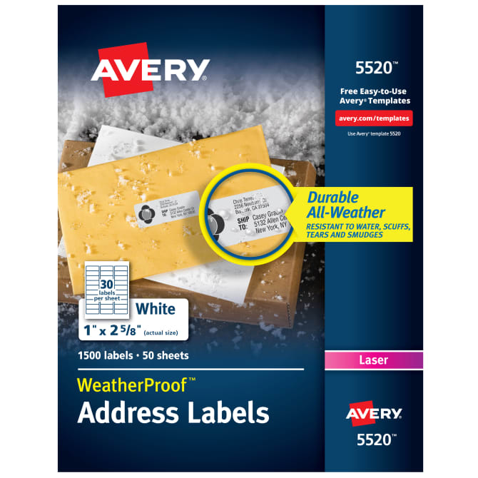 Avery Weatherproof Mailing Labels Permanent Adhesive 1500 Labels
