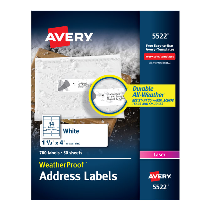 Avery Weatherproof Mailing Labels Permanent Adhesive 700 Labels