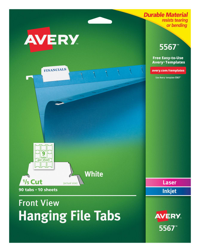 Avery Hanging File Tabs 1/5 Cut, 90 Tabs (5567) | Avery.com