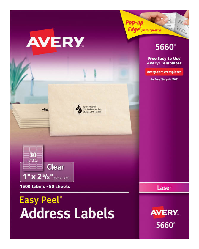 Avery Easy Peel Address Labels Clear 1500 Labels 5660 Avery