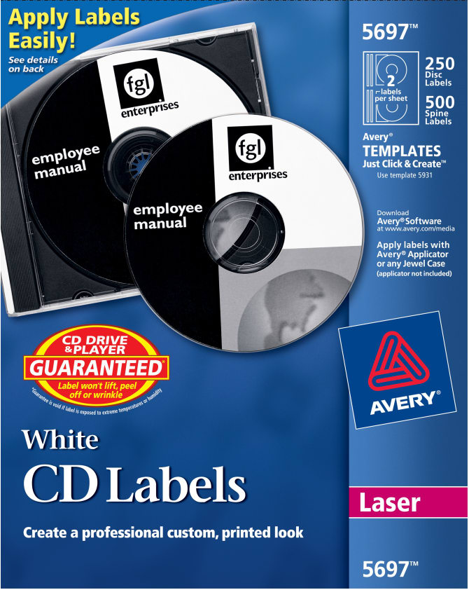 avery cd labels permanent adhesive 250 disc labels and 500 spine
