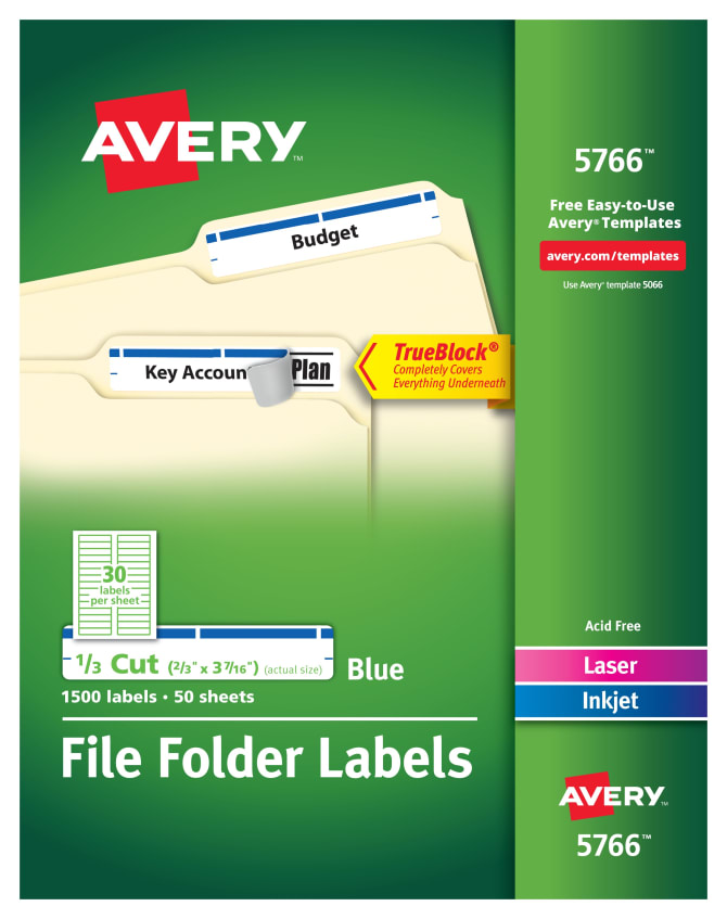 Avery File Folder Labels Blue 1500 Labels 5766 Avery
