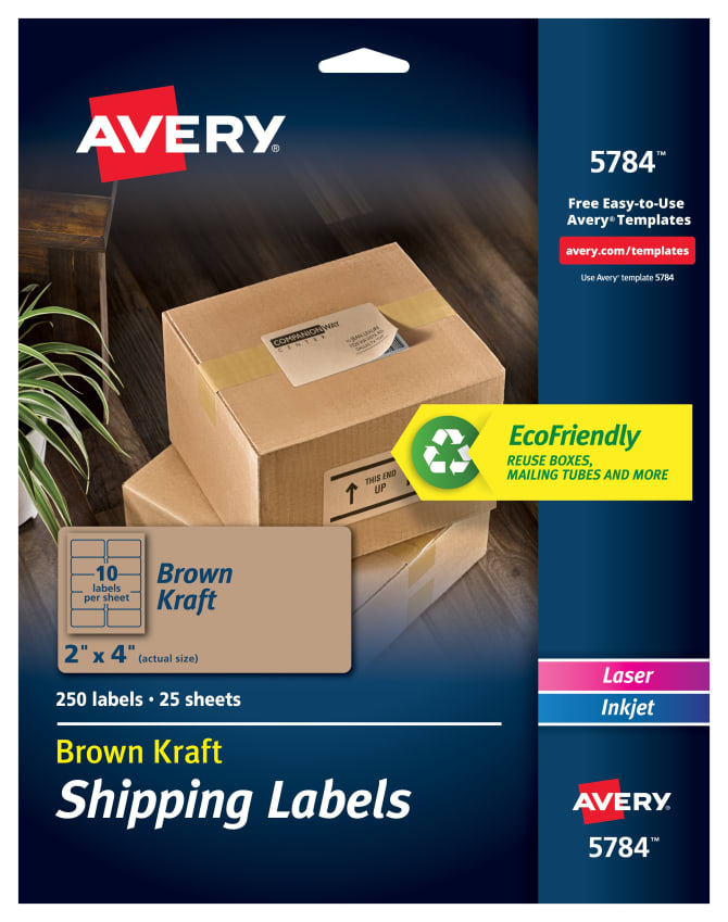 Avery Shipping Labels Kraft Brown 250 Labels 5784 Avery