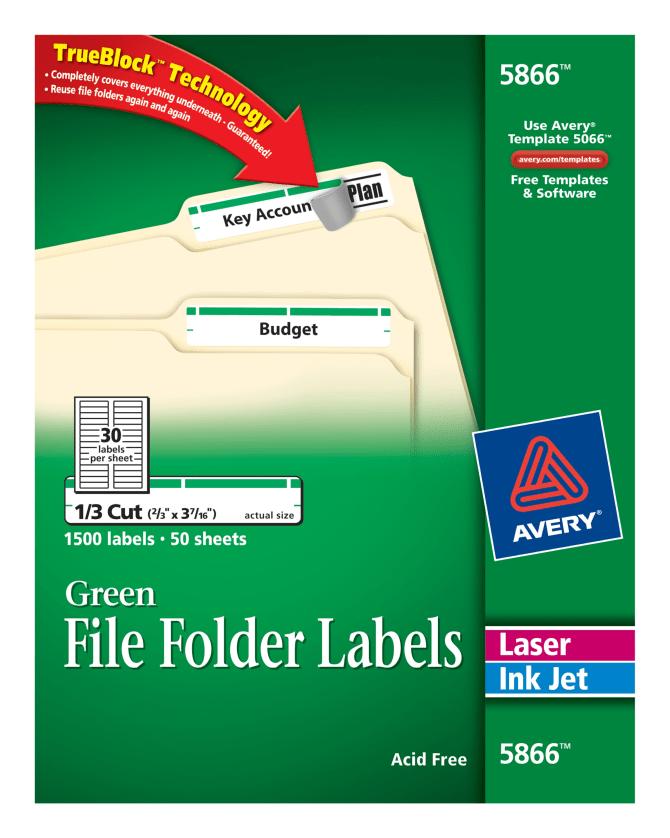 Avery File Folder Labels Green 1500 Labels 5866 Avery