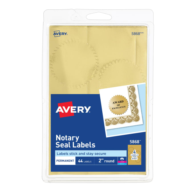 Avery Notarial Seals Metallic Gold 44 Seals 5868 Avery