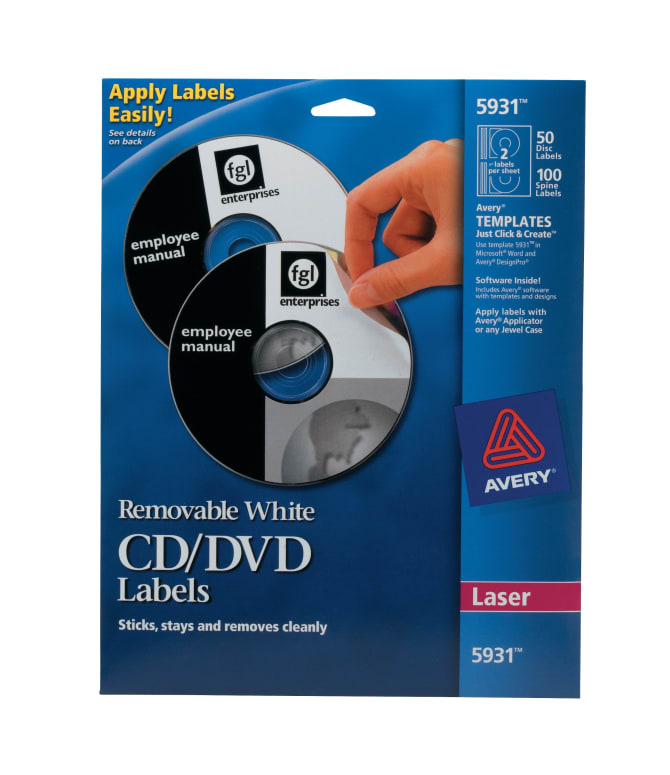 Avery removable cd labels removable adhesive 50 disc labels and avery removable cd labels removable adhesive 50 disc labels and 100 spine labels 5931 avery pronofoot35fo Choice Image
