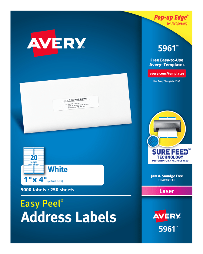 Avery Easy Peel Address Labels 1 X 4000 Labels 5961 Avery