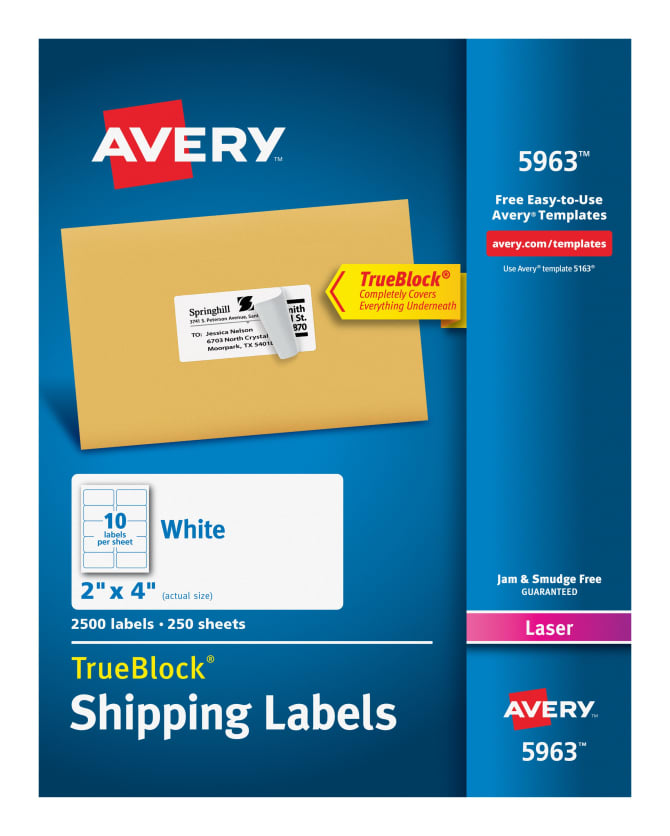 avery 5963 shipping labels permanent adhesive 2500 labels averycom