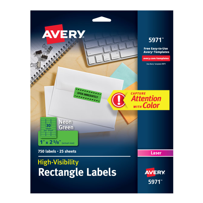 Avery High Visibility Labels Neon Green 750 Labels 5971 Avery