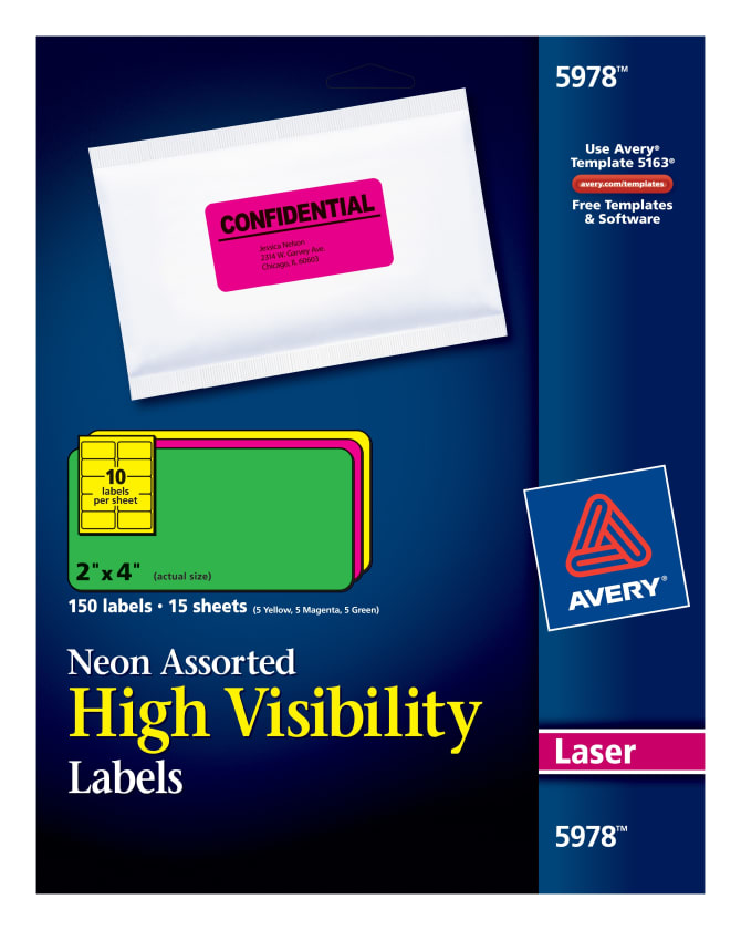 avery high visibility labels assorted neon colors 2 x 4 150