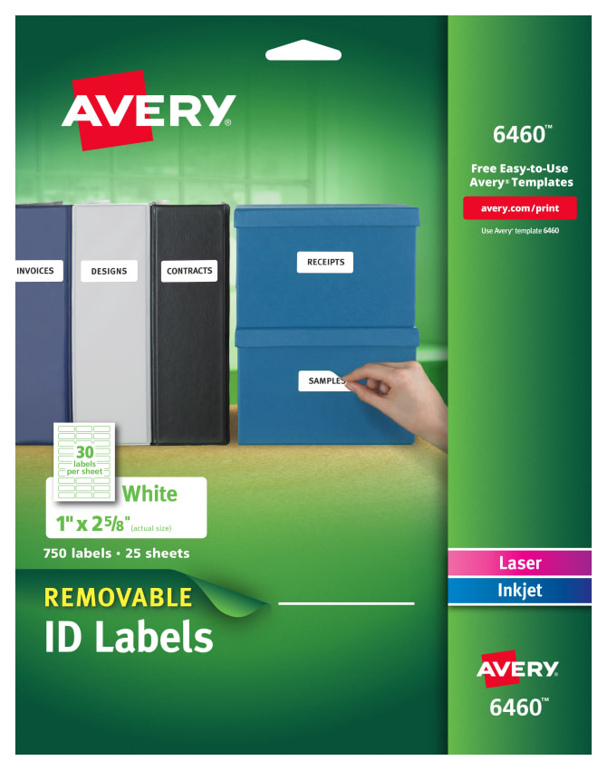 avery removable id labels 1 x 2 5 8 750 labels 6460 avery com