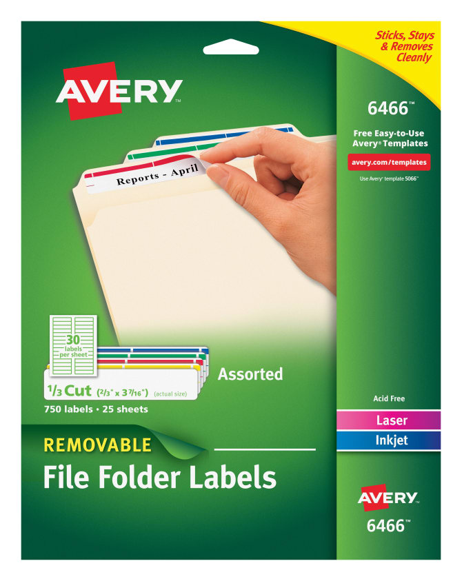 Avery Removable Filing Labels Assorted Colors 750 Labels 6466