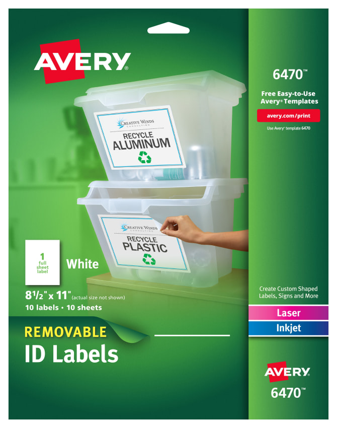 Avery Removable Labels 8 12 X 11 10 Labels 6470 Avery