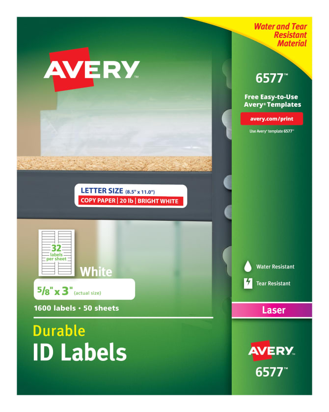 Avery Durable Id Labels 58 X 3600 Labels 6577 Avery
