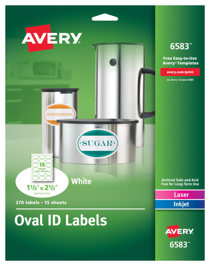 Avery Oval Labels 1 12 X 2 12 270 Labels 6583 Avery