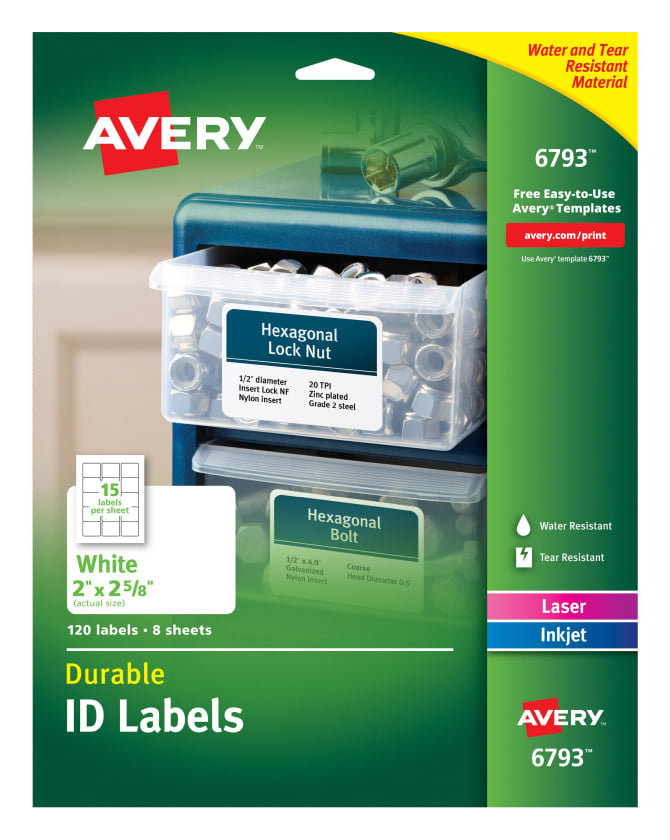 avery durable id labels 2 x 2 5 8 120 labels 6793