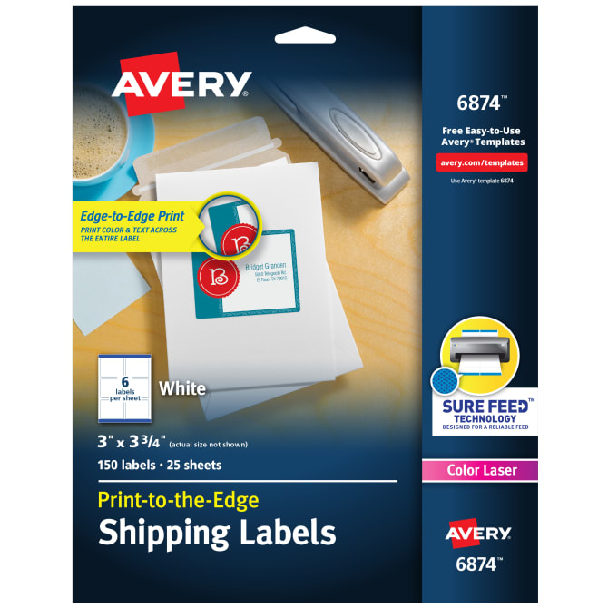 Avery Shipping Labels Permanent Adhesive 150 Labels (6874) Avery.com