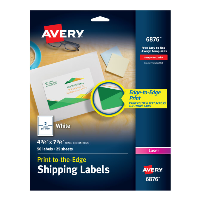 Avery Shipping Labels Permanent Adhesive 50 Labels 6876 Avery