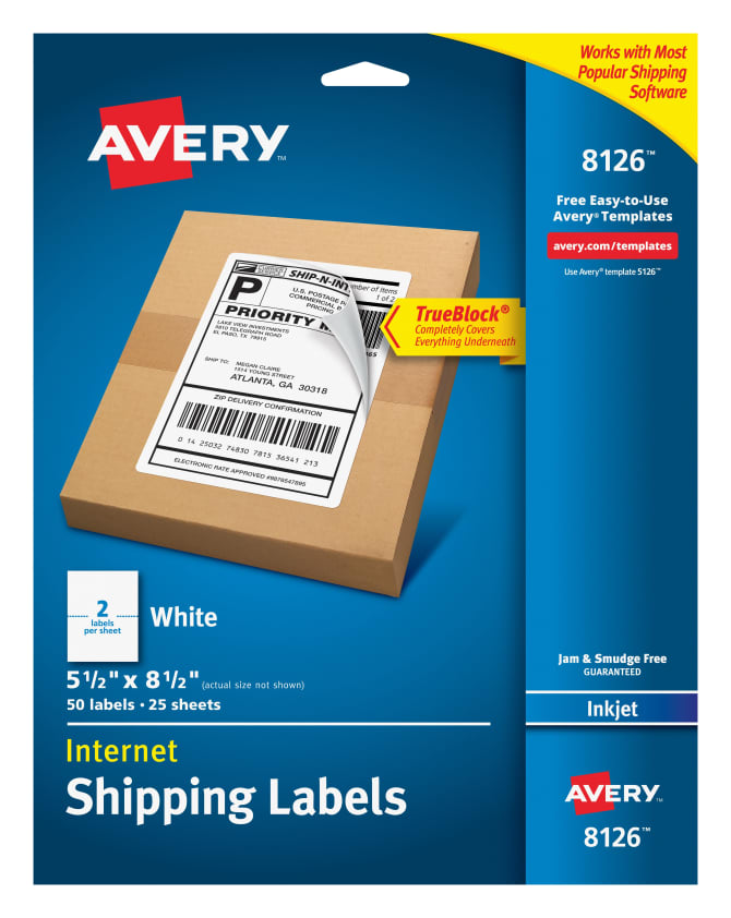 Avery Internet Shipping Labels Permanent Adhesive 50 Labels 8126