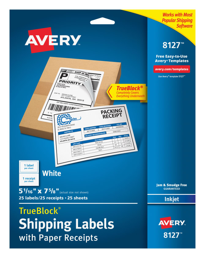 Avery® Shipping Labels w/ Paper Receipts, TrueBlock® Technology, Permanent  Adhesive, 5-1/16