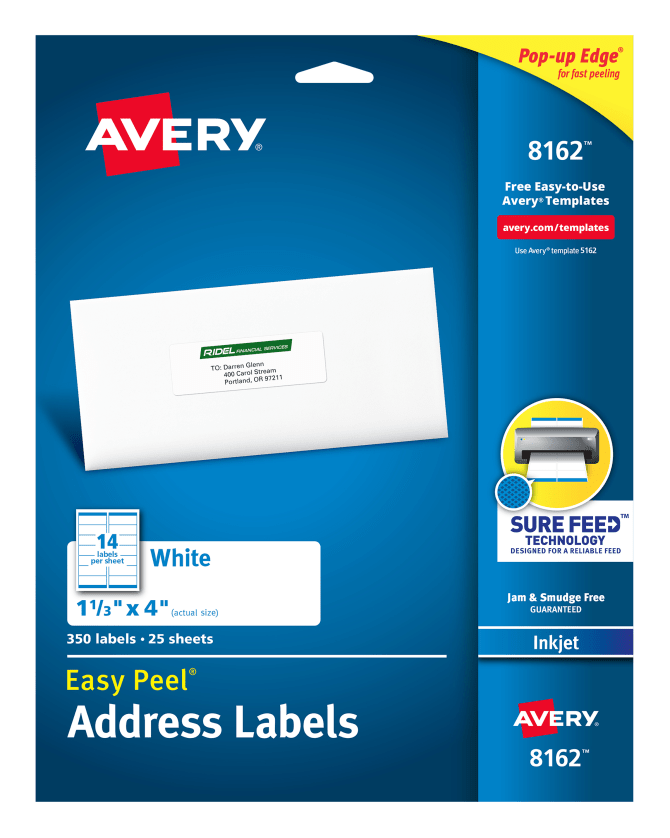 Avery Easy Peel Address Labels 1 13 X 4 350 Labels 8162