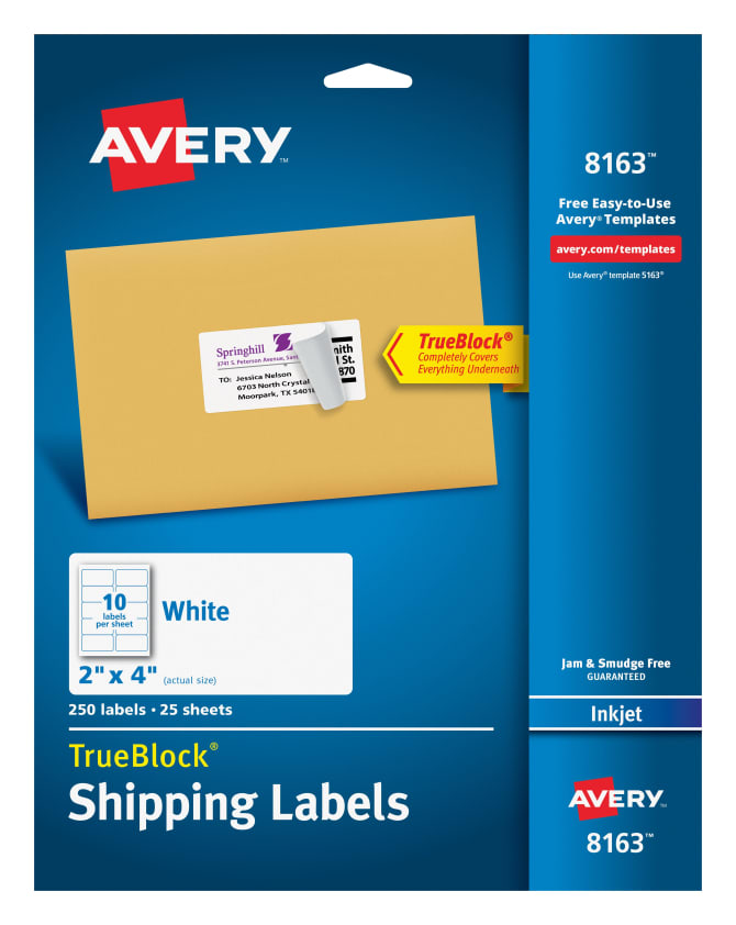 Avery 8163 Shipping Labels Permanent Adhesive 250 Labels Avery