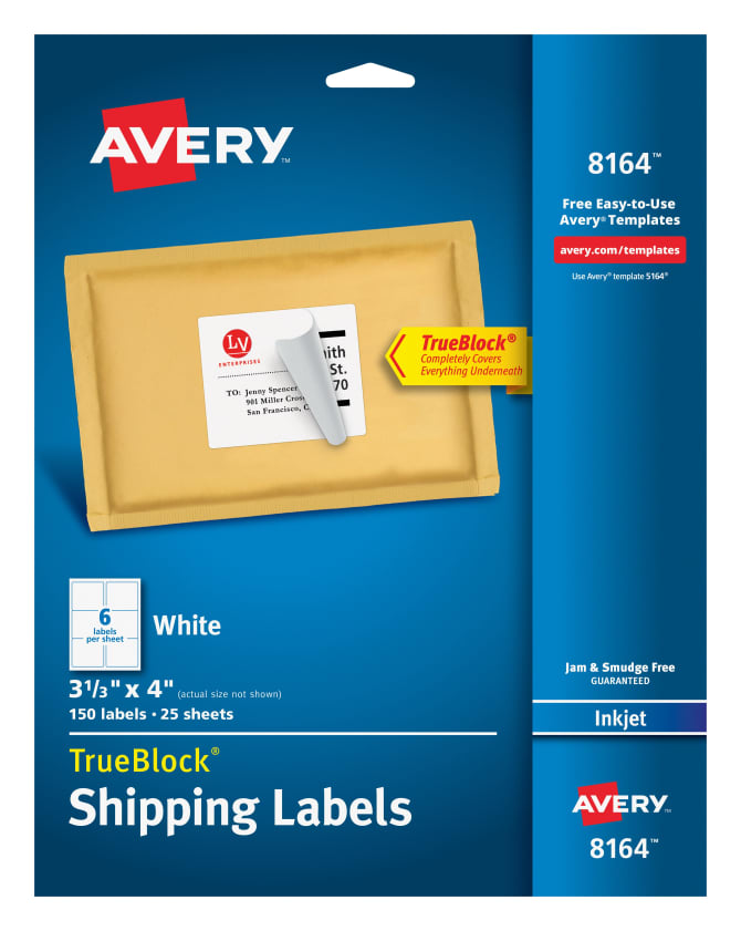 Avery 8164 Shipping Labels With Trueblock 150 Labels Avery