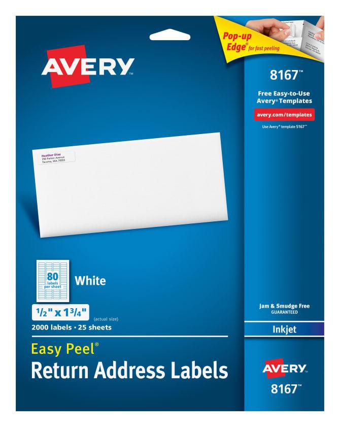 Avery Easy Peel Return Address Labels 12 X 1 34000 Labels 8167