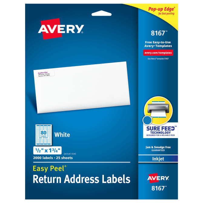 avery easy peel return address labels 1 2 x 1 3 4 000 labels 8167