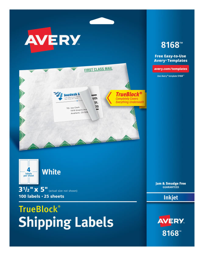 Avery Shipping Labels Permanent Adhesive 100 Labels 8168 Avery