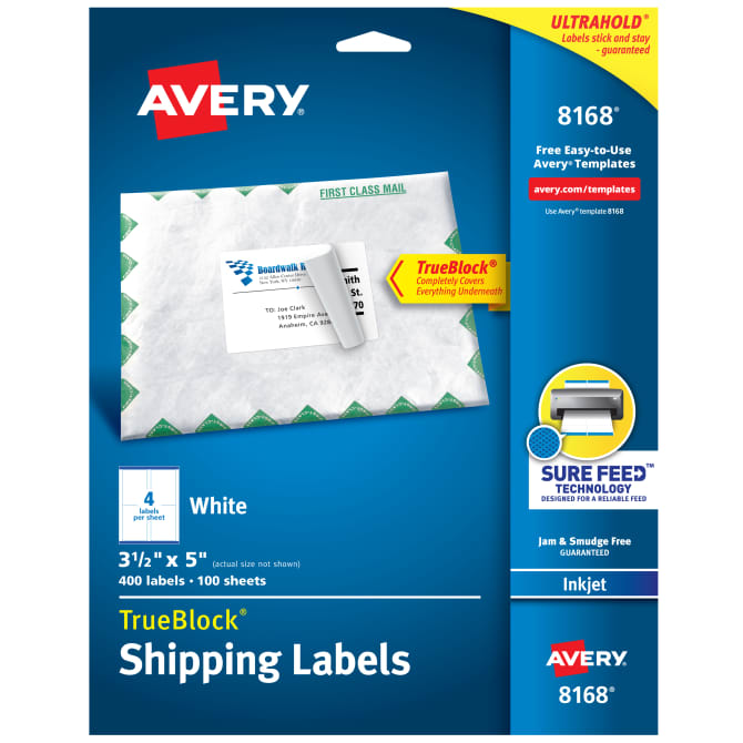Avery® TrueBlock® Shipping Labels, Sure Feed™ Technology, Permanent  Adhesive, 3-1/2