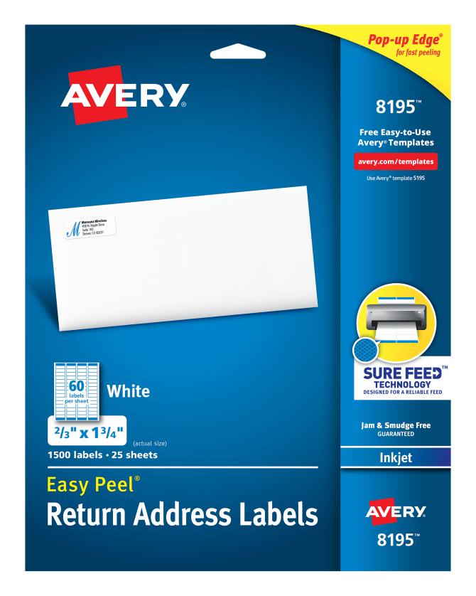 avery easy peel return address labels 23 x 1 34 1500 labels 8195 averycom