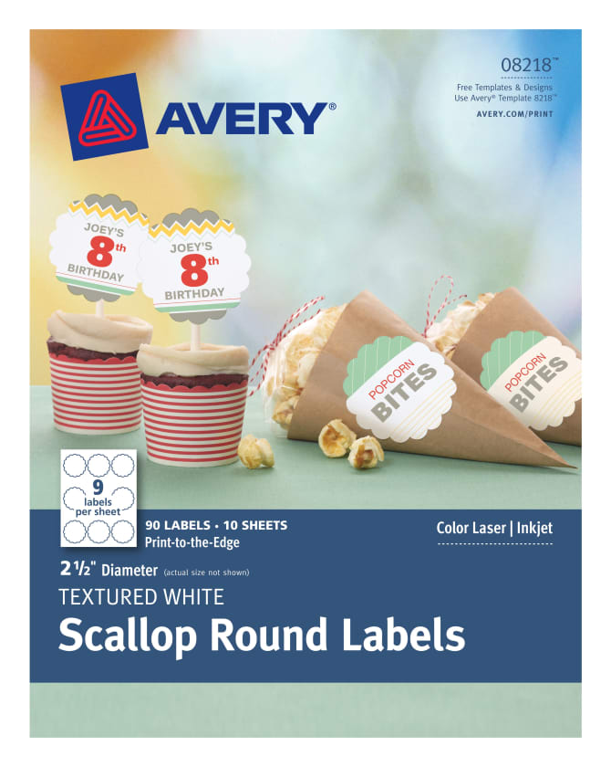 Avery Scallop Round Labels Textured 90 8218