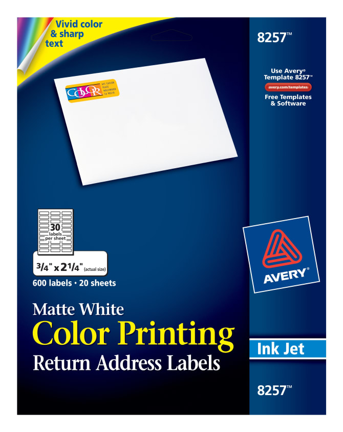 Avery color printing labels matte 600 labels 8257 avery pronofoot35fo Images