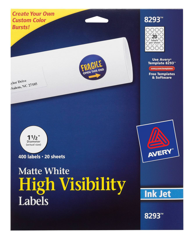 Avery High-Visibility Labels Matte 400 Labels (8293) | Avery.com