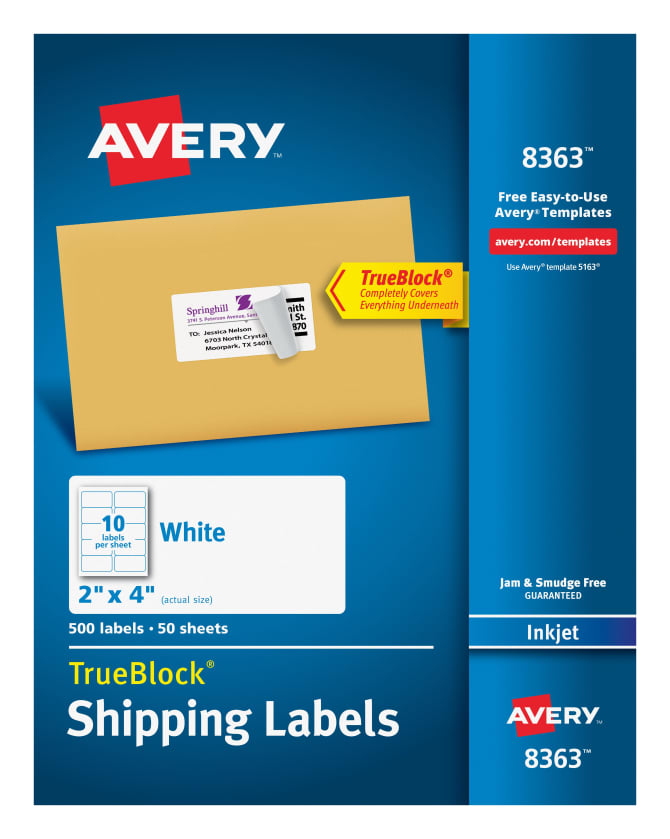 Avery 8363 shipping labels permanent adhesive 500 labels avery reheart Choice Image