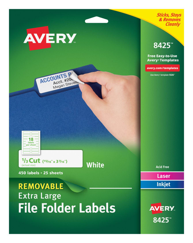 Avery Removable Extra Large File Folder Labels 13 Cut 450 Labels