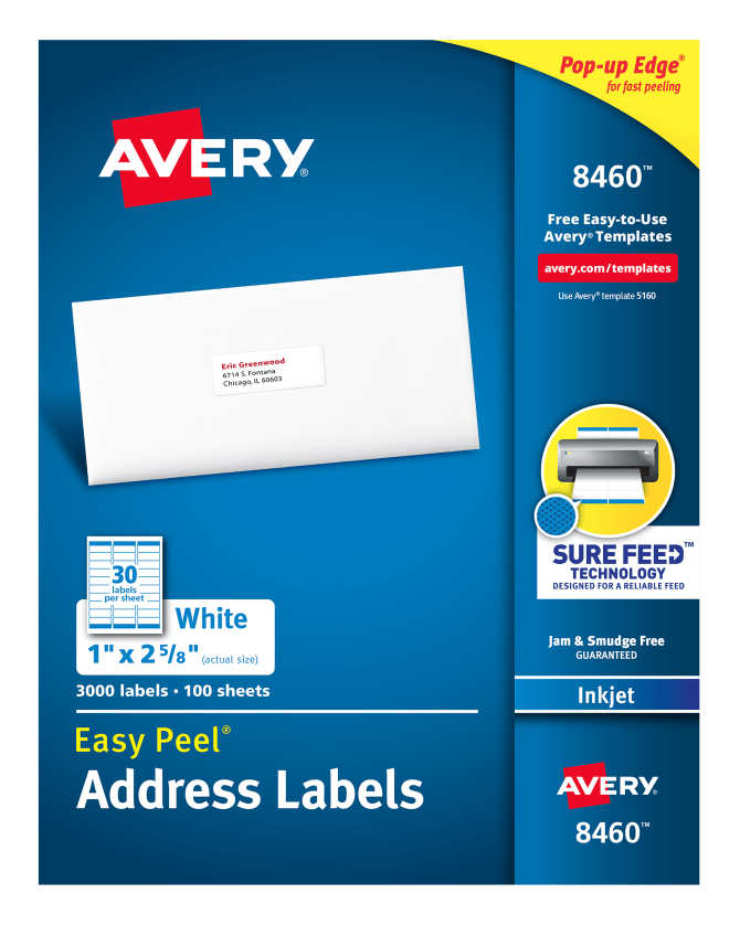 avery easy peel address labels 1 x 2 5 8 3 000 labels 8460