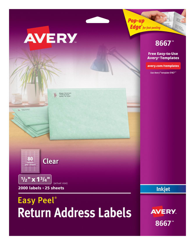 Avery Easy Peel Return Address Labels Clear 2000 Labels 8667