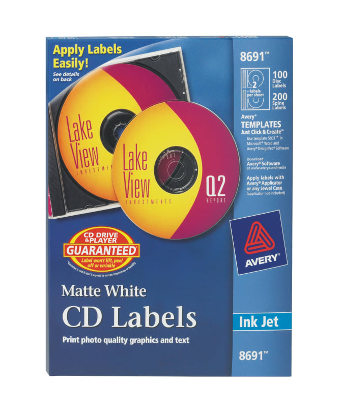 Avery Cd Labels 100 Face Labels200 Spine Labels 8691 Avery