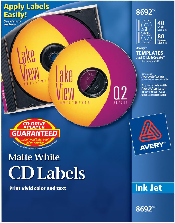 Avery® CD Labels, Print to the Edge, Permanent Adhesive, Matte, 40 Face  Labels and 80 Spine Labels (8692)