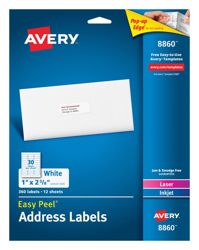 Avery Easy Peel Address Labels 360 Labels 08860 Avery
