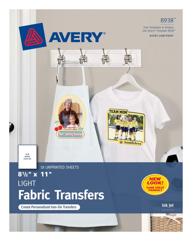 photograph regarding Printable Iron on Fabric called Avery® T-Blouse Transfers, 8-1/2\