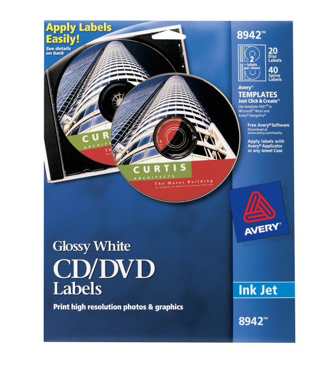 Avery Cd Labels Glossy 20 Disc Labels And 40 Spine Labels 8942