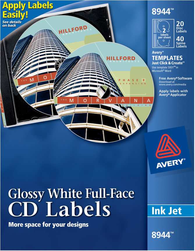 Avery Full Face Cd Labels Glossy 20 Disc Labels And 40 Spine Labels