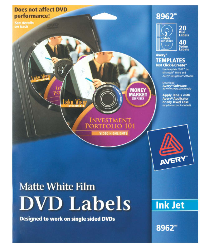 Avery Film Dvd Labels Matte 20 Disc Labels And 40 Spine Labels