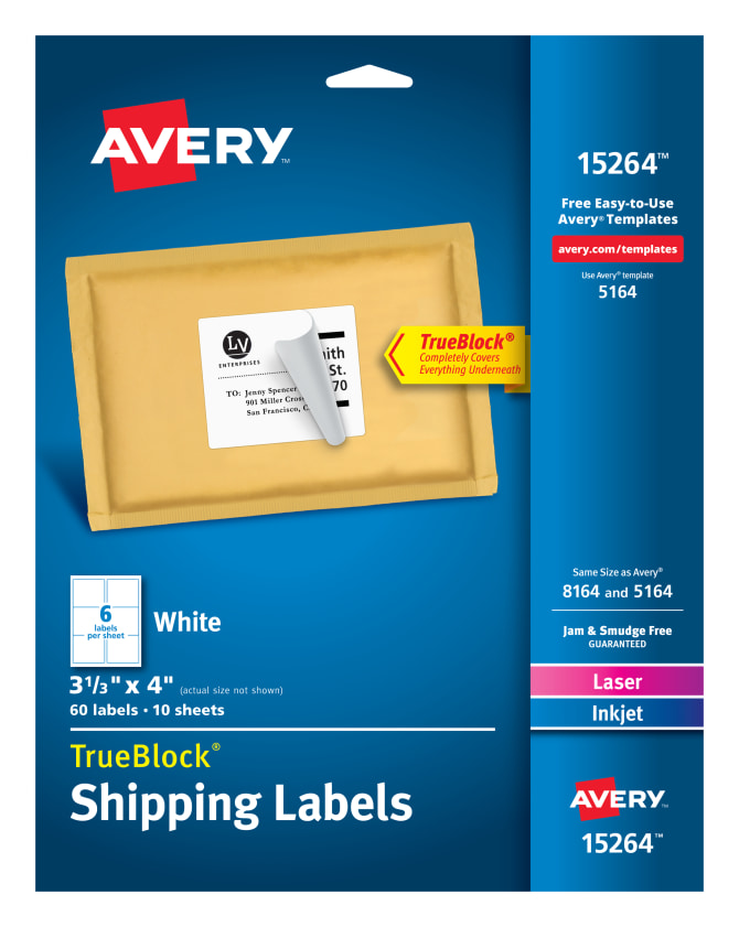 Avery Shipping Labels Permanent Adhesive 60 Labels 15264 Avery