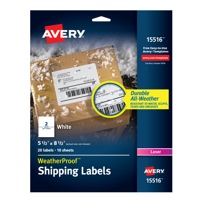 Avery Weatherproof Mailing Labels Permanent Adhesive 20 Labels